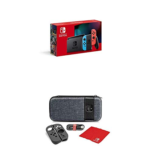 Nintendo Switch Konsole - Neon-Rot/Neon-Blau (2019 Edition) + Starter Kit Case Switch Elite Edition