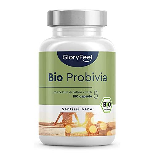 Integratore Probiotico Bio Probivia, 180 Capsule, Fermenti Lattici Probiotici con 21 Ceppi Batterici Vivi, con Inulina Bio, 20 Miliardi CFU, Capsule Enteriche per la Salute della Flora Intestinale