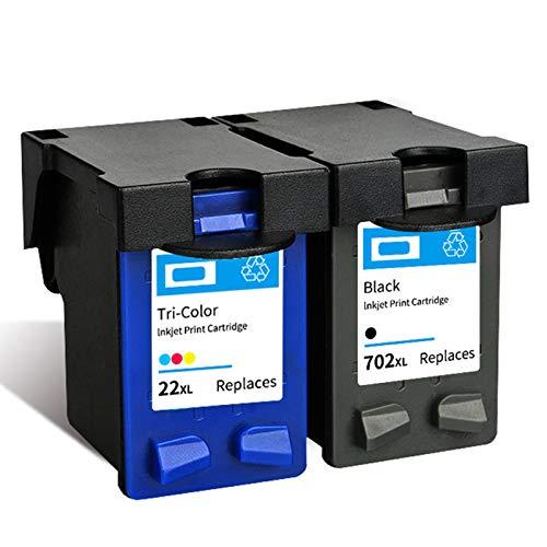 Cartucho de tinta 22XL 702XL, repuesto de alto rendimiento para impresora HP Deskjet 3910 D1311 F2120 Officejet J3508 J3606 J3608 J5508 tinta negra y tricolor 1 negro 1 tricolor