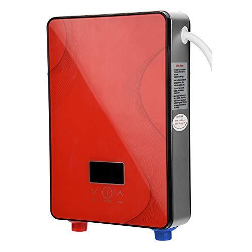 Fdit Socialme-EU 8500W / 6500W / 3000W Mini Calentador de Agua Electrico Instantaneo Sin Tanque 220V Temperatura de Agua de Salida Ajustable para Uso Bano Cocina(EU) (Rojo 6500W)