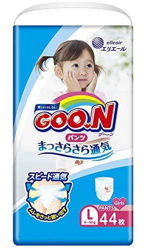 GOO.N Baby Windelhöschen für Mädchen Gr. L (9-14 kg) 44 Stück Premium Qualität Made in Japan