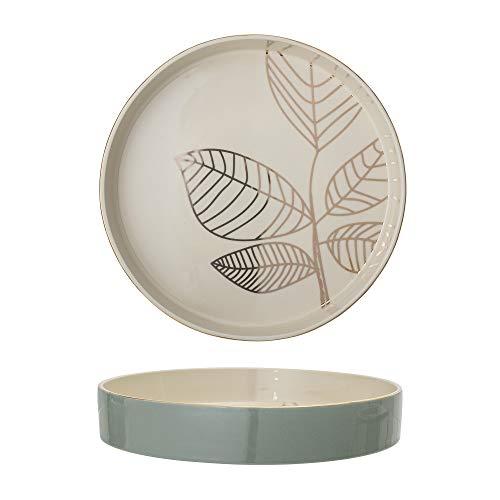 Bloomingville - Servierschale Rio - Weiß, Grün, Gold - Keramik - Ø30 x H5 cm
