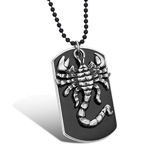 JewelryWe Schmuck Skorpion Hundemarke Dog Tag Anhänger mit 70cm Kette, Herren Halskette Kugelkette, Schwarz Silber