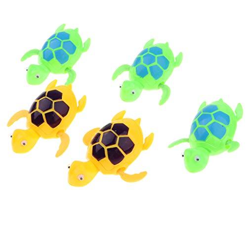 SM SunniMix 5 Stücke Wind Up Schwanz Schaukel Schwimmen Fisch Kinder Badewasser Pool Spielzeug Uhrwerk Tiere - Schildkröte