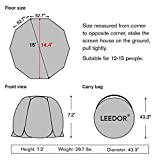 LEEDOR Gazebos for Patios Screen House Room 12-15 Person Canopy Mosquito Net Camping Tent Dining Pop Up Sun Shade Shelter Mesh Walls Not Waterproof Gray,15'x15'