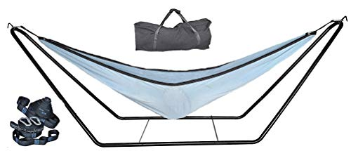 cutequeen Steel Stand with 210T Nylon Hammock and Tree Straps Hold Up 450 Lbs Space Saving (Purple/Sky Blue)