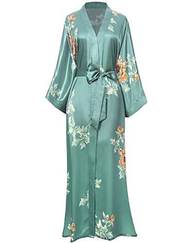 Coucoland Damen Morgenmantel Maxi Lang Seide Satin Sommer Kimono Kleid Klassisch Blumen Muster Kimono Bademantel Damen Lange Robe Blumen Schlafmantel Girl Pajama Party (Silber Grün)