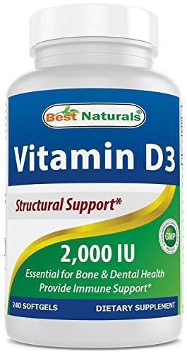 Best Naturals, Vitamin D3 2000 IU, 240 Softgels (GMO-Free, Preservative-Free, USP Grade Natural Vitamin D)