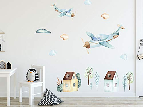 GRAZDesign Wandtattoo Flugzeug und Häuser Kinderzimmer, Wandaufkleber Wolken für Jungen, Deko für Babyzimmer Baby Jungenzimmer Jungs, Aquarell / 57x80cm