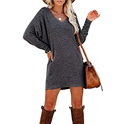 Women's Loose Plain Long Sleeve T-Shirt Dresses Fashion Elegant V-Neck Casual Short Dress Tops