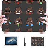 Macbook Air 1466 Funda Big Set Poo Expression Shit Emoticons Plastic Hard Shell Compatible Mac Macbook Pro 2017 Accesorios de protección para Macbook con Alfombrilla de ratón