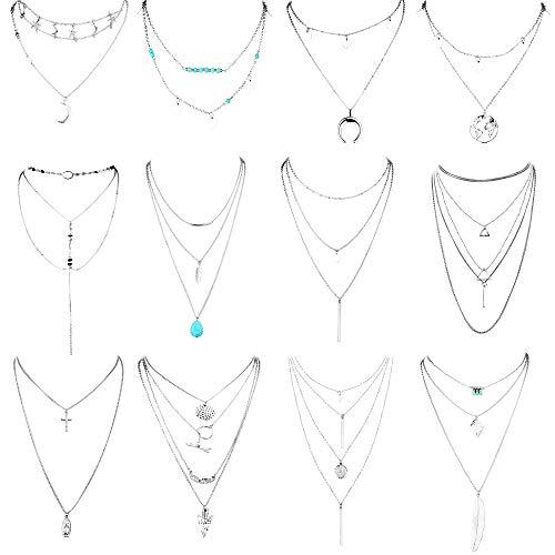 YADOCA Boho 12 PCS Layered Choker Halskette für Frauen Mädchen Sexy Coin Star Pearl Multilayer Kettenhalsketten Set verstellbar
