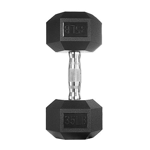 papababe Dumbbells Free Weights Dumbbells Weight Set Rubber Coated cast Iron HeX Black Dumbbell Single (35, Single)