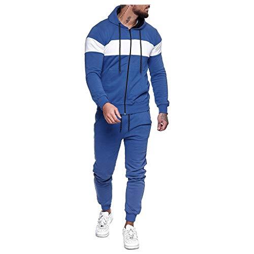 Yowablo Fitness Kleidung Set männer Athletic Fitness Sport Anzug Spleißen Reißverschluss Sweatshirt Top Hosen Sets Sportanzug Trainingsanzug (3XL,Blau)