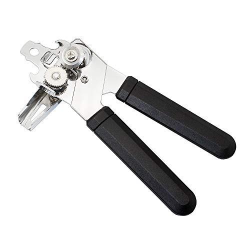 CXZC Abrelatas de seguridad, borde liso, abrelatas manual, con mango antideslizante y botón ergonómico, para personas mayores con artritis
