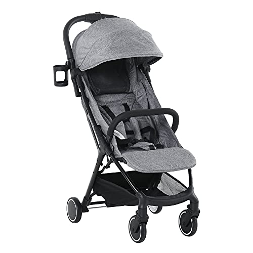 HOMCOM Baby Stroller One-Click Foldable Travel Pushchair with Five-Point Harness Lightweight Compact Toddler Buggy for 0-36 Months, Grey