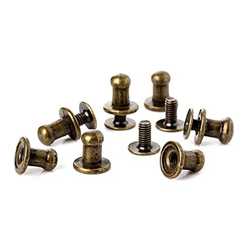 Remaches de metal 100SETS 8mm Bronce Solid Aleación de la aleación Redonda Tachuelo Spot Spot Restos Craftleather Bolsa Cinturón Chicago Botón Tornillo Remache reparado (Color : Bronze)