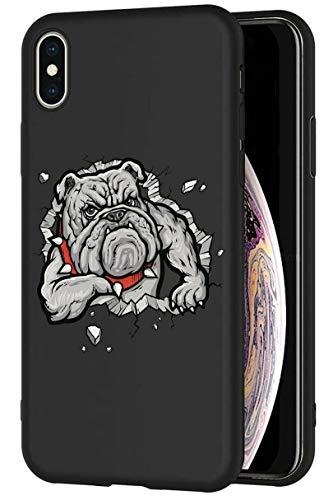 Mixroom - Cover Custodia in Silicone TPU Nero Opaco per iPhone 6 Plus Fantasia Bulldog Inglese MUSCOLOSO 645