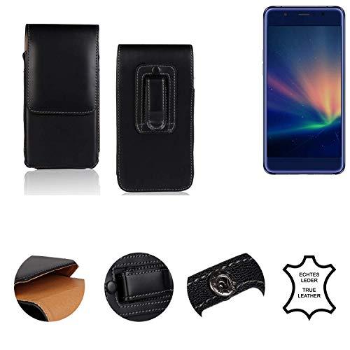 K-S-Trade® Holster Gürtel Tasche Für Hisense A2 Pro Handy Hülle Leder Schwarz, 1x