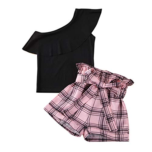Geagodelia Sommer Outfits Neugeborene Bekleidungsset Baby Mädchen Outfits Kleinkind Top Shorts Baby 2PCS Mädchen Bekleidungsset (Schwarz D, 2-3 Jahre)