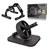 POWER GUIDANCE AB Wheel & Push Up Bar, Exercise Home Gym Equipment for 6 Pack Abs & Core Workout Roller - with Innovative Non-Slip Rubber, Extra Thick Knee Pad
