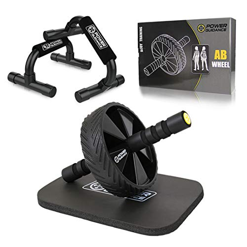 POWER GUIDANCE AB Wheel & Push Up Bar, Exercise Home Gym Equipment for 6 Pack Abs & Core Workout...