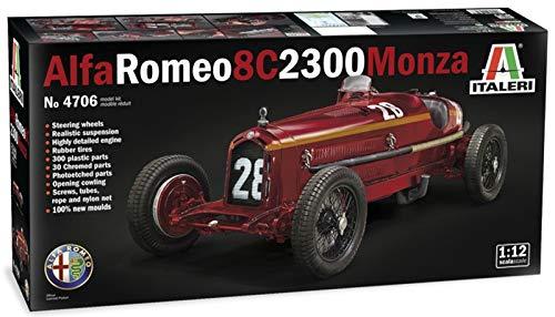 Italeri Maqueta de Alfa Romeo 8C 2300 Monza Nuvolari, Escala 1:12, Modelo, Manualidades, Hobby, Pegado, Kit de construcción de plástico, detallado, Color Plateado (IT4706)