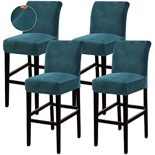GYHH Bar Stuhlhussen,Barhocker Abdeckung Stretch Samt Abnehmbarer Waschbarer Stuhl Schonbezug Für Short Swivel Dining Chair Rückenlehne Barhocker Stuhl (Deep Teal,4)