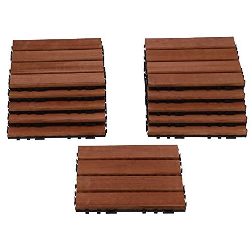 Paquete de 11 baldosas entrelazadas para terrazas, pisos de madera a presión de 12 x 12 pisos de madera dura para exteriores para patio, baldosas para terrazas, pisos de balcones impermeables, pisos d