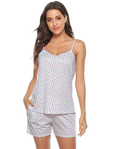 Aiboria Pijamas Mujer Verano Algodón Cortos 2 Piezas Camiseta Tirantes Mujer y Pantalón Corto
