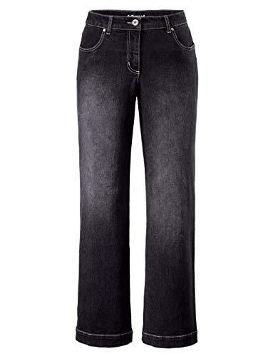 Dollywood Damen Straight Fit Lange Flare Cut Jeans Nora in Schwarz aus Baumwolle