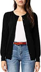 Women's Round Neck Button Down Soft Classic Knit Cardigan (S,Black)