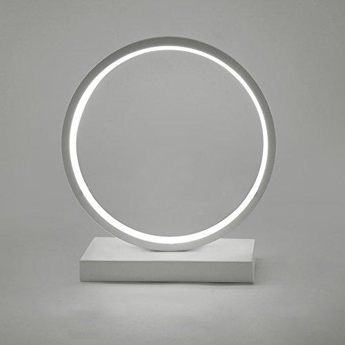 WSHFOR Luce creativa nordica lampada da tavolo in alluminio Cerchio a LED, lampada da comodino, lampada da tavolo semplice moderna sala studio, bianco e nero (Colore : Black-White light)