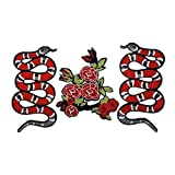 ouken 1 Packung Flower and Snake Patches Eisen auf Patches oder annähen für Kleidung Glitter...
