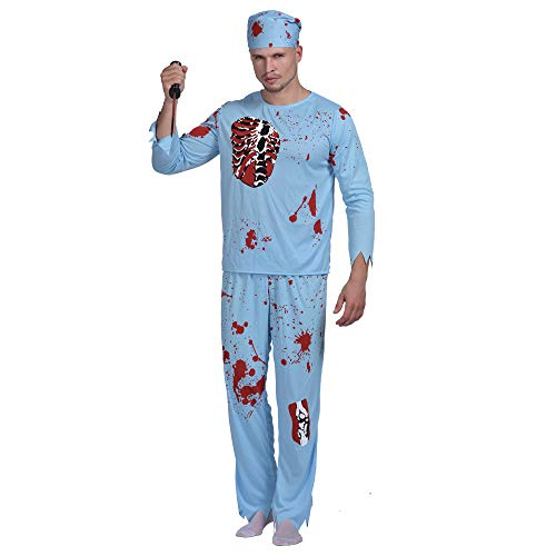 EraSpooky Zombie Bloody Doctor Halloween Costume(As Picture, Large)