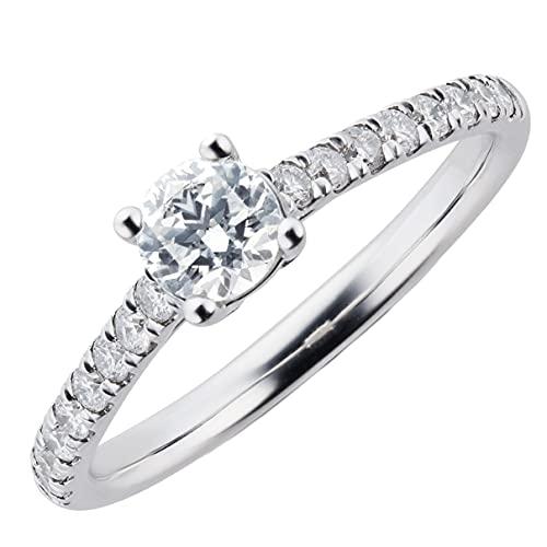 JewelsForum Anillo De Compromiso Con Diamante Solitario Tcw De 0,65 Ct En Oro De 14 K Para Su Piedra Central De 0,50 Ct Con Acentos De 0,15 Ct Color De Alta Claridad I Oro Blanco (U)