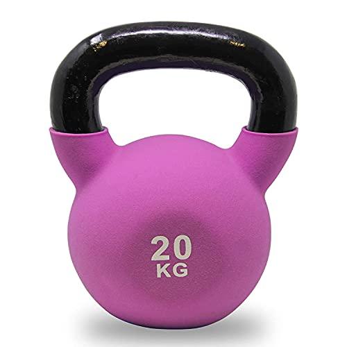 POWRX Kettlebell Hierro Fundido 20 kg - Pesa Rusa con Revestimiento de Neopreno + PDF Workout (Lila)