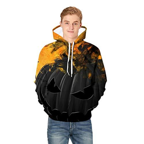 SOLELING Felpa con cappuccio da uomo slim fit con cappuccio a maniche lunghe con stampa 3D Felpa con cappuccio Pullover Halloween