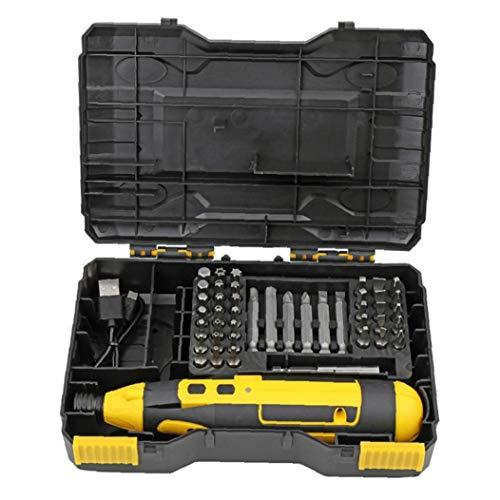 Destornillador eléctrico 4V destornillador inalámbrico USB Taladro Recharagable carburo con caja de cable amarillo