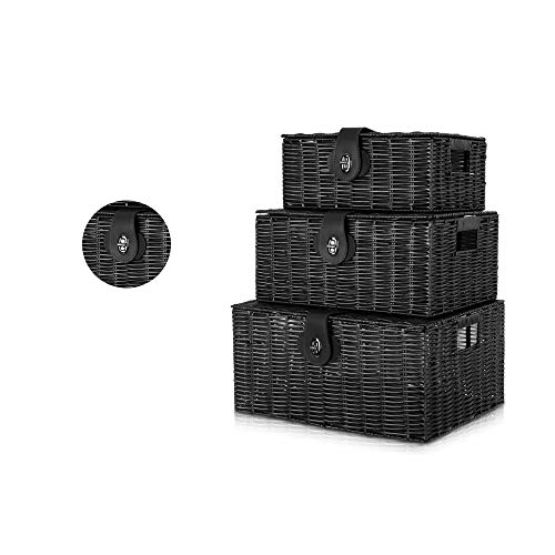 Black Hamper Storage Basket, Resin Woven Box With Lid & Lock Set Of 3 Wicker, Small, Medium, Large