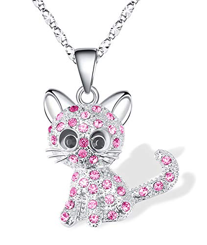 Lanqueen Kitty Cat Pendant Necklace Jewelry for Girls Cat Lover Gifts Daughter Loved Necklace 18+2.3 inch Chain