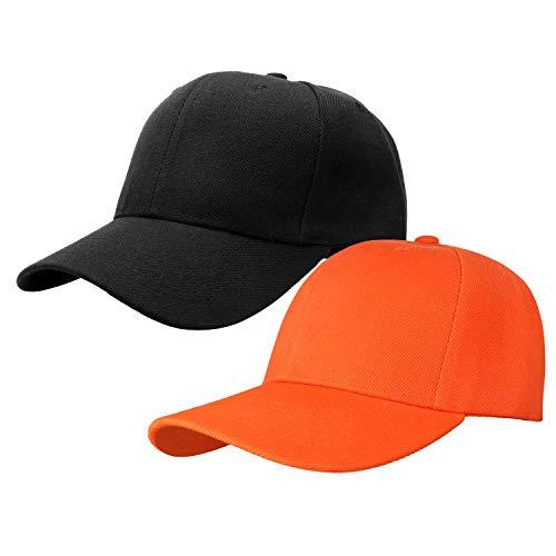 2pcs Baseball Cap for Men Women Adjustable Size Perfect for Outdoor Activities Black/Orange