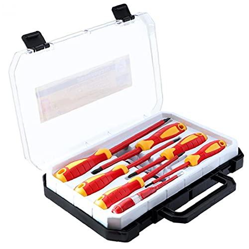 NaiCasy Kit de Herramientas del Destornillador de la Mano aislada 1000V Phillips ranurado Destornilladores con verificador de Seguridad Lleva la Caja de Electricista Rojo