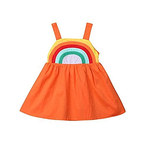 Houfung 12-6 Jahre Baby Mädchen Kleid niedlich Regenbogen Sling Hochzeit Party rückenfrei Kleider Gr. 98, Orange