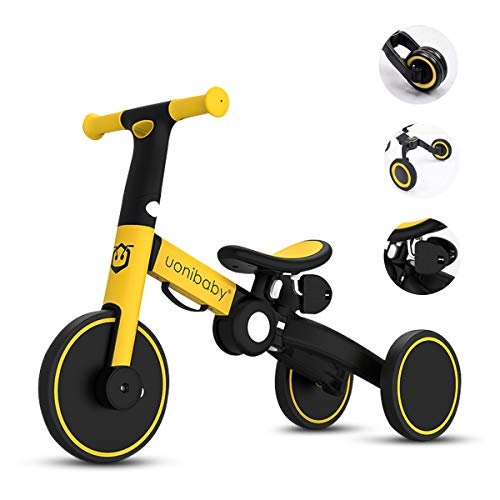 OLYSPM Balance Bike 4 in 1 per Bambini,Bicicletta Senza Pedali,Triciclo Senza Pedali,per 1.5-5 Anni Baby Boys Girls,Altezza del Sedile Regolabile (Giallo)