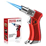 ZEBRE Butane Torch, Blow Torch Lighter Mini, Windproof Refillable Butane Fuel Torch Lighter, Ideal for Cooking Grill BBQ Candle Camping Outdoor Home (Butane Gas Not Included), Red