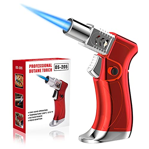 ZEBRE Butane Torch, Triple Jet Flame Blow Torch Lighter Mini, Windproof Refillable Butane Fuel Torch Lighter, Ideal for Cooking Grill BBQ Candle Camping Outdoor Home (Butane Gas Not Included), Red