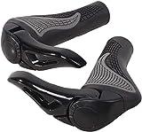 SOULBEST Puños para Manillar de Bicicleta diseño Ergonómico - con Cuernos Antideslizante Aluminio Caucho Bike Agarre para Bicicleta Moto Montaña MTB BMX Plegable Bicicleta (Negro)