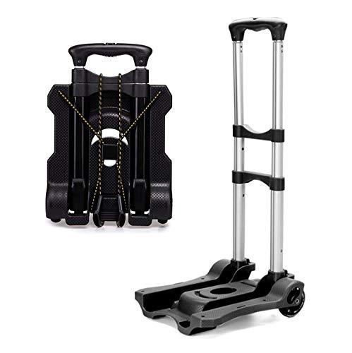 FLM Carrito de Aluminio Plegable Resistente - Carretilla de Transporte con Ruedas de PU Capacidad de Carga Hasta 50 KG,Negro