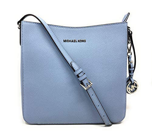 Michael Kors Jet Set Travel Large Messenger Crossbody Bag (Pale blue) InteriorFeatures Custom Michael Kors Fabric Lining, 1 Zip Pocket, and 7 Slip Pocket Adjustable Shoulder Strap with Maximum Drop of Approx. 24 inches Approximate Dimensions: 10 in (...